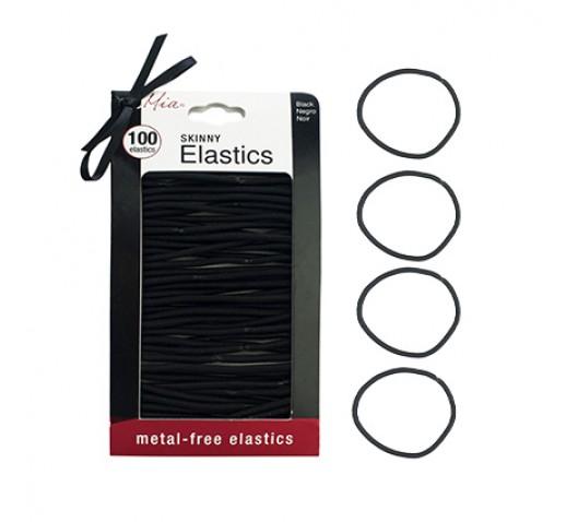 Mia Metal Free Skinny Hair Elastics, Black 100pk