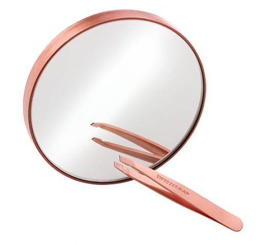 Tweezerman Rose Gold Mini Slant Tweezer And Mirror Duo